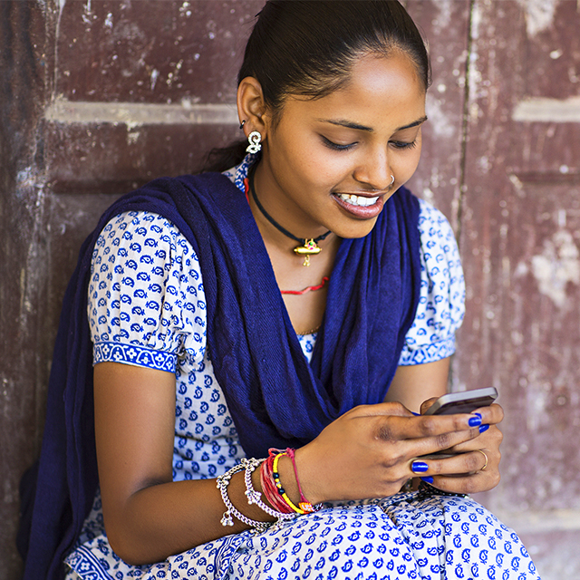 Indian woman on smartphone